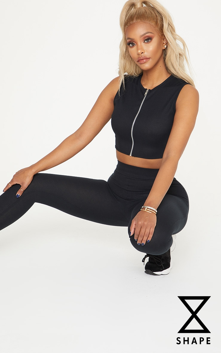 Shape Black Ribbed Zip Detail Crop Top 1