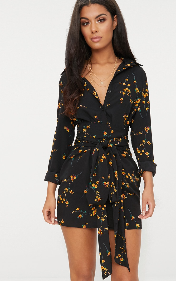 Black Floral Tie Waist Shirt Dress 1