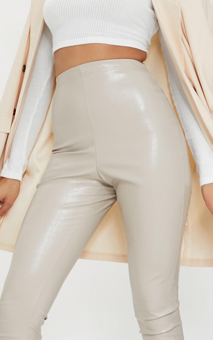 Stone Croc Faux Leather Skinny Pants 4