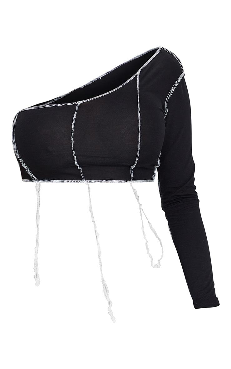 Shape Black Jersey Contrast Stitch One Shoulder Crop Top 5