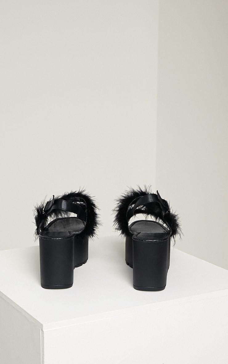 Chelo Black Fluffy Strap Sandals 8