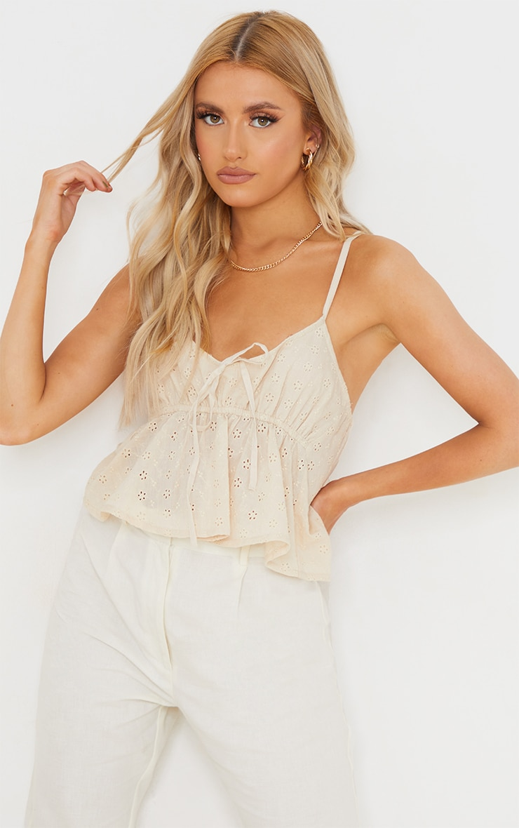 Sand Broderie Anglaise Strappy Cami Top