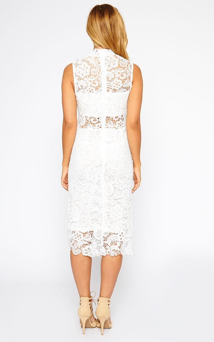 Lena White Lace Midi Dress 2