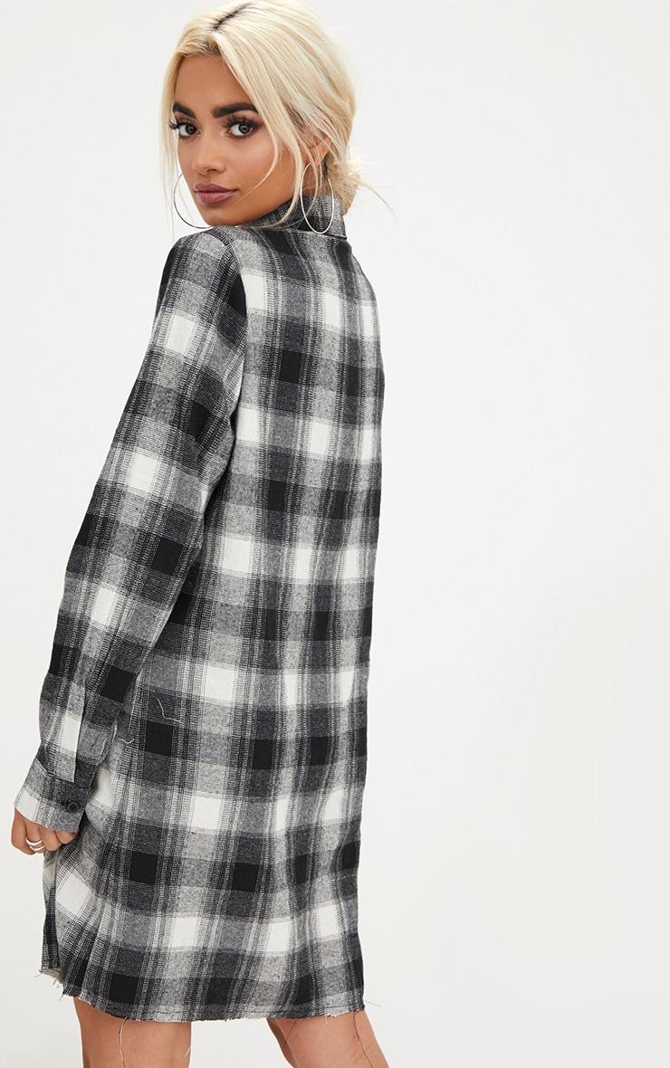 Black Checked  Shirt Dress 2