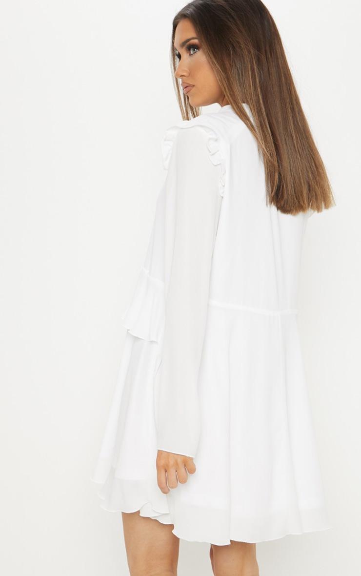 White Tie Neck Tiered Shift Dress 2