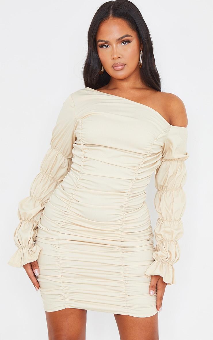 Stone Gathered Tiered One Shoulder Bodycon Dress 3