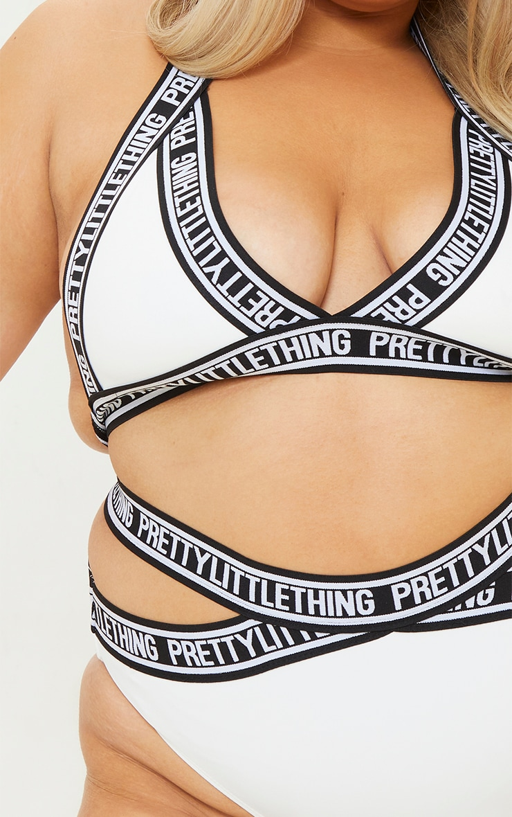 PRETTYLITTLETHING Plus White Strap Bikini Top 4