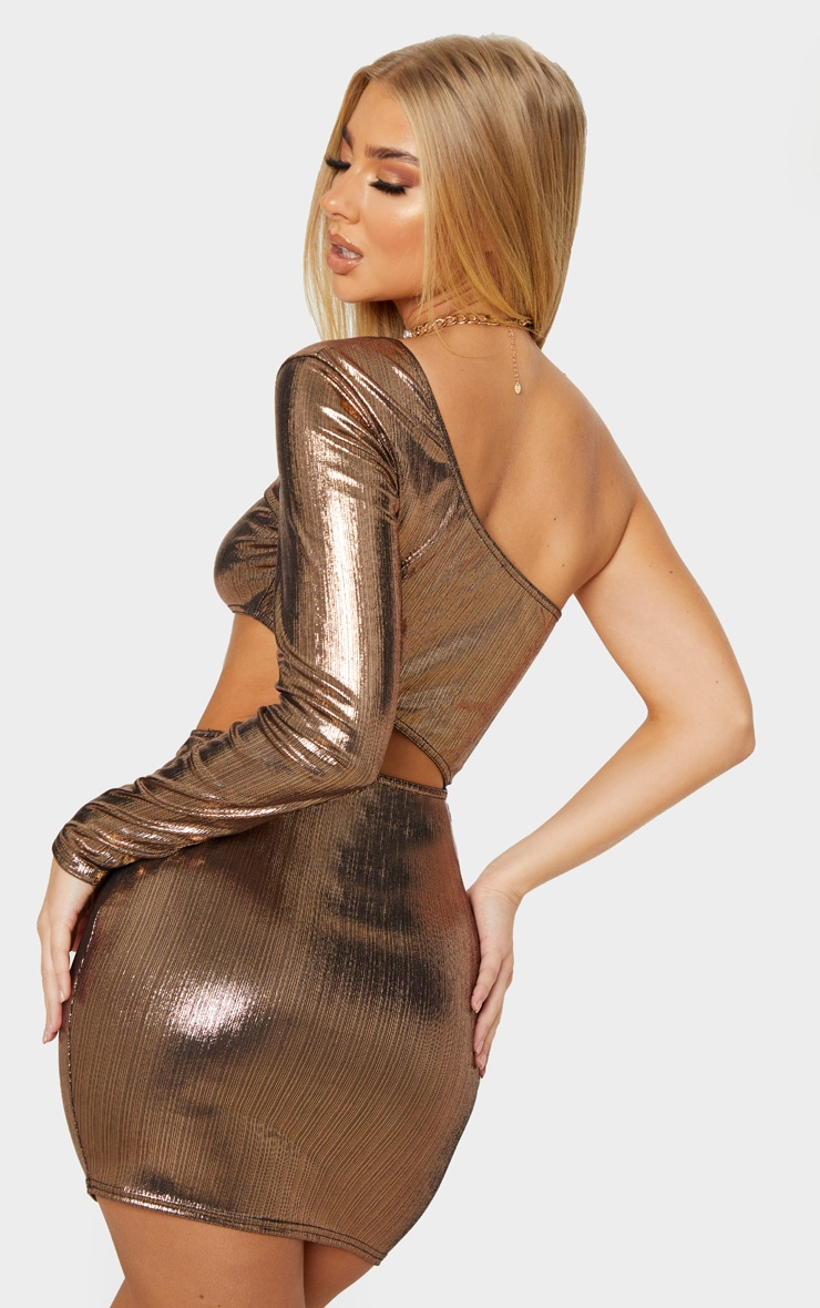 Gold One Shoulder Metallic Cut Out Bodycon Dress 2