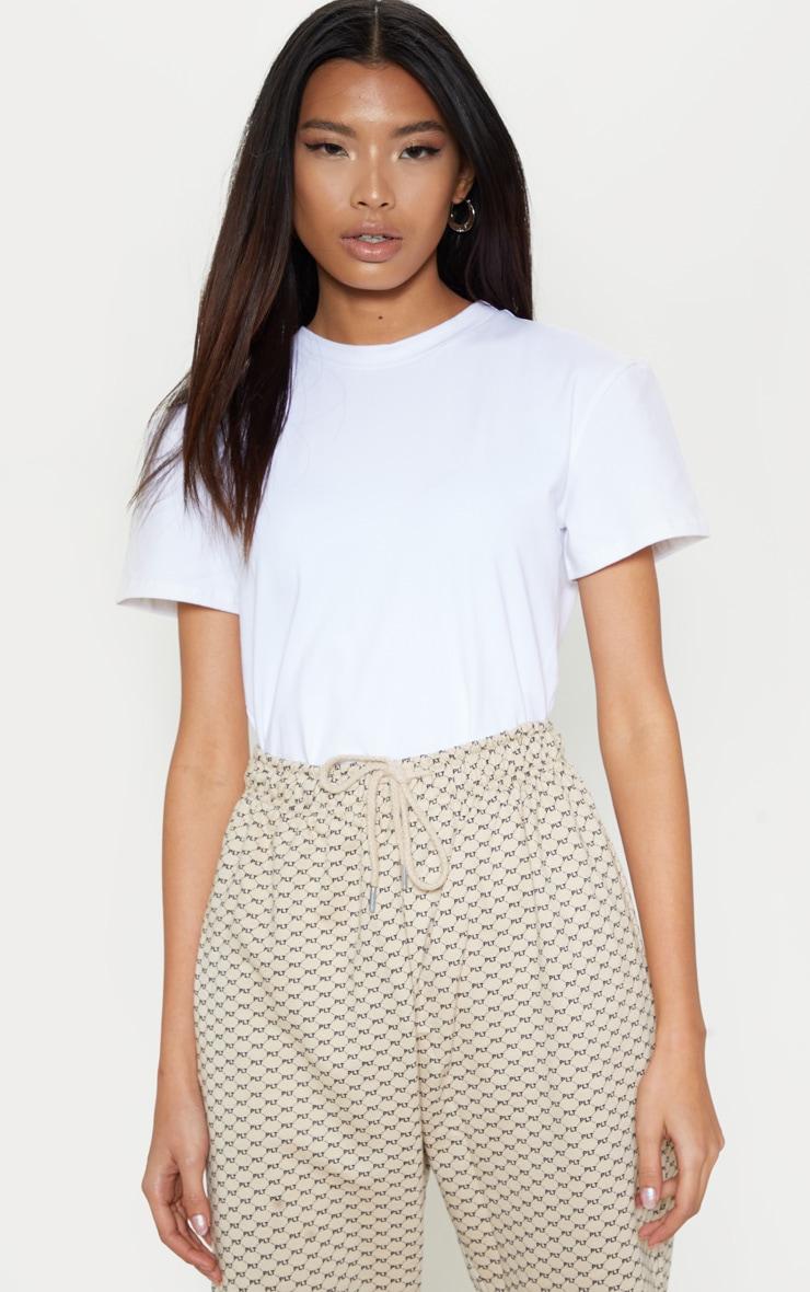 White Cotton Stretch T Shirt Thong Bodysuit 6