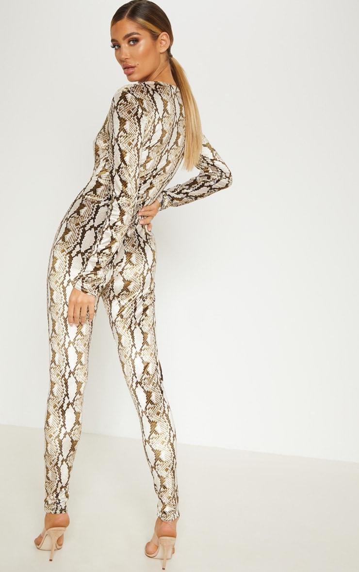 Multi Snake Print Velvet Jumpsuit  2