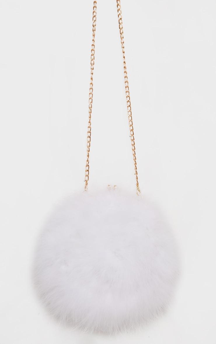 White Marabou Feather Cross Body Bag 1