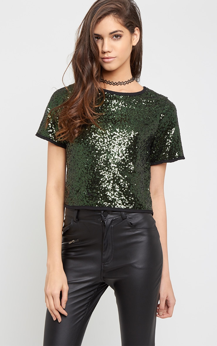 Diya Green Sequin Crop Tee 1