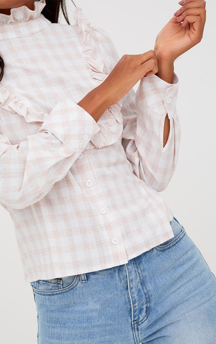 Pink Check Frill Neck Shirt 5