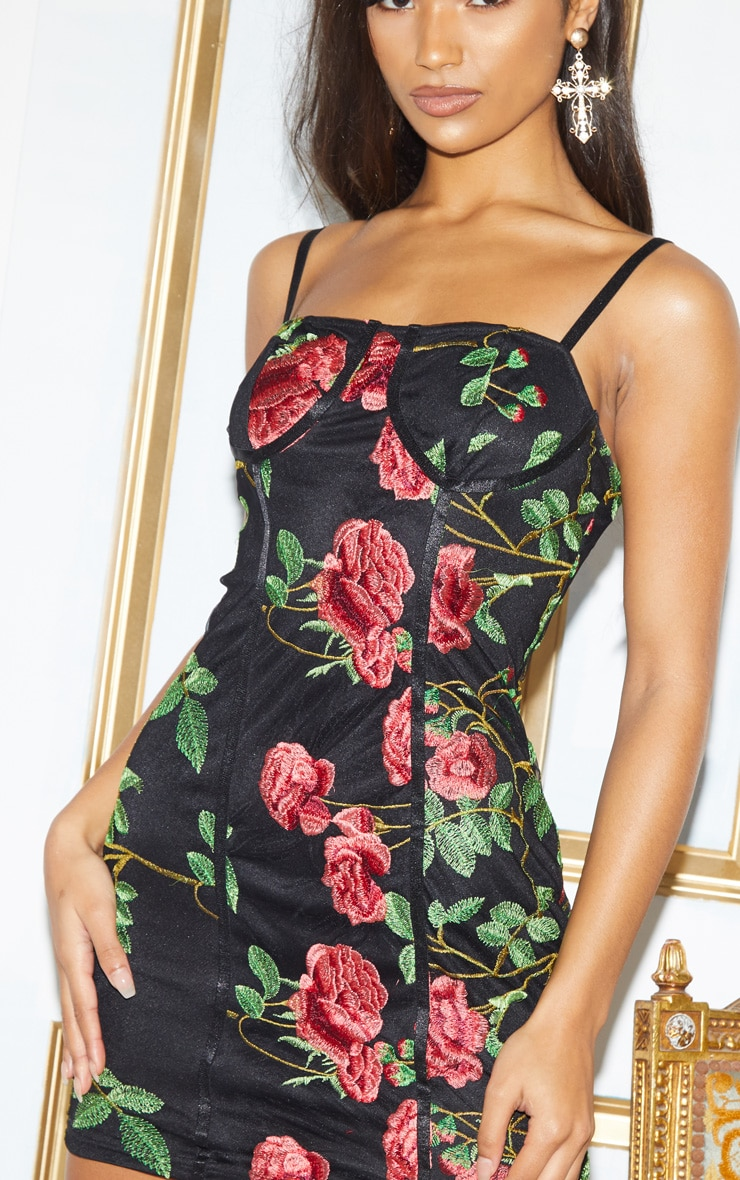 Black Floral Embroidered Cup Detail Bodycon Dress 5