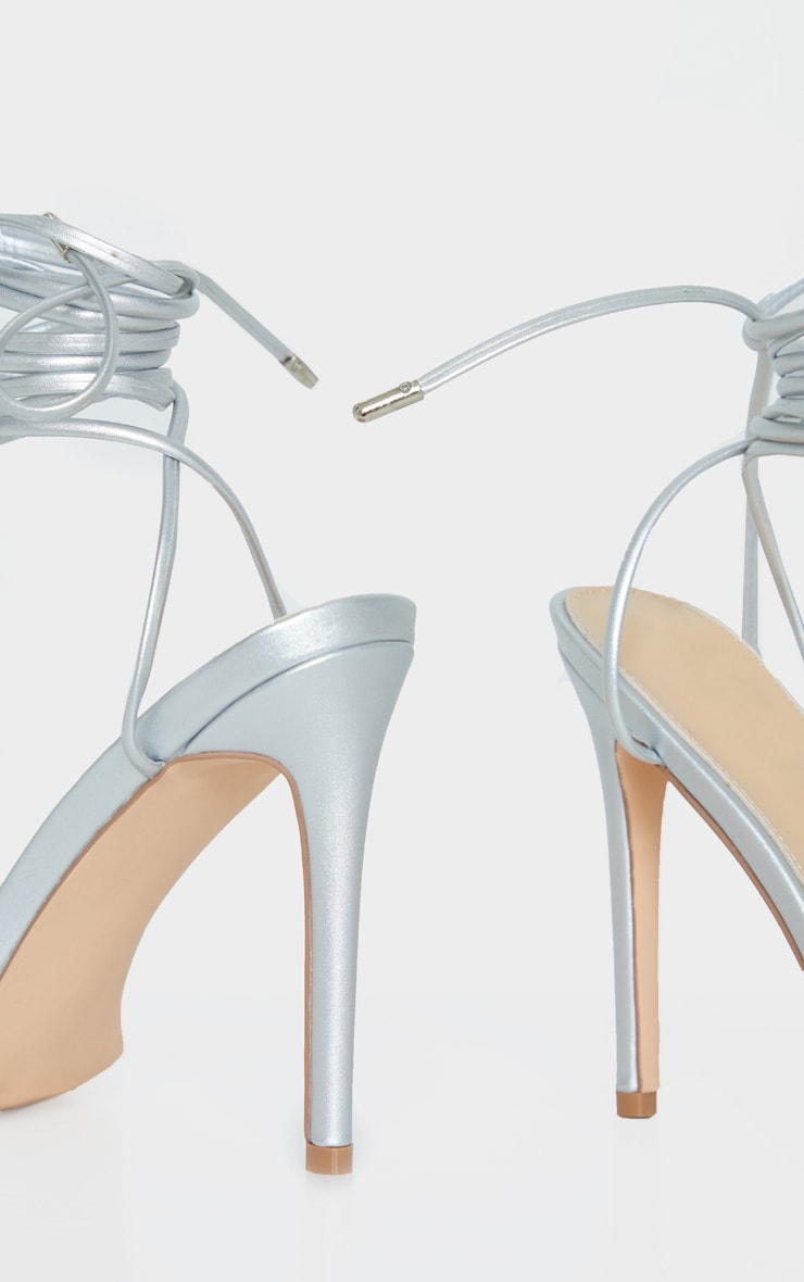 Silver Thin Strap Ankle Tie Strappy Sandal 4