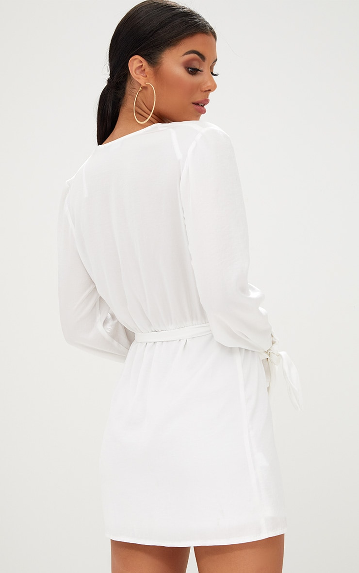 White Satin Wrap Cuff Detail Shift Dress 2