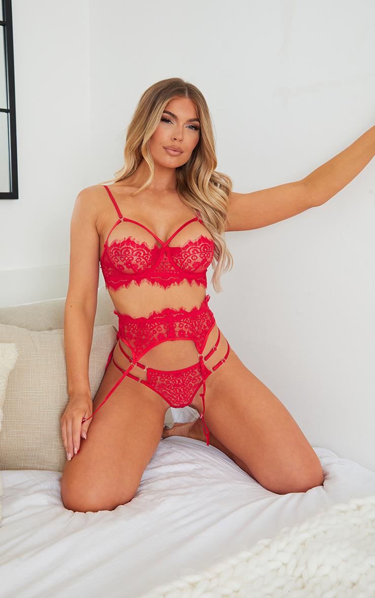 Red Harness Strap Detail Lace 3 Piece Lingerie Set 1