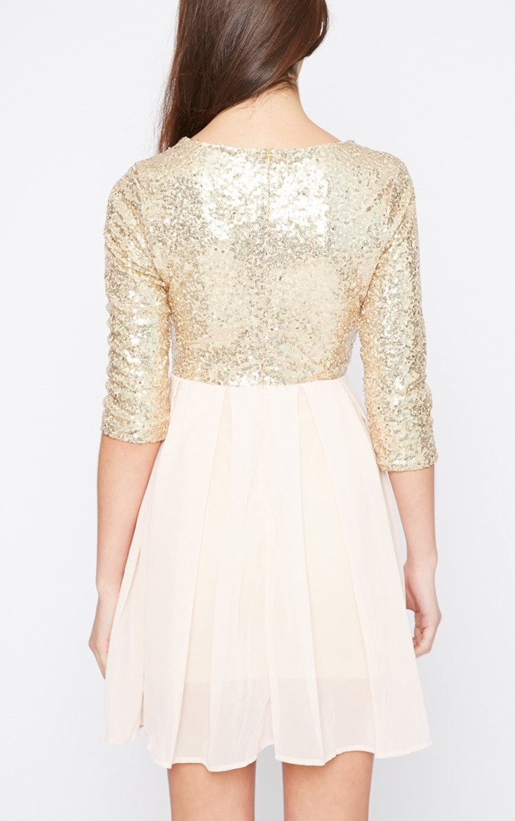 Tiva Gold Sequin Blush Skater Dress 2