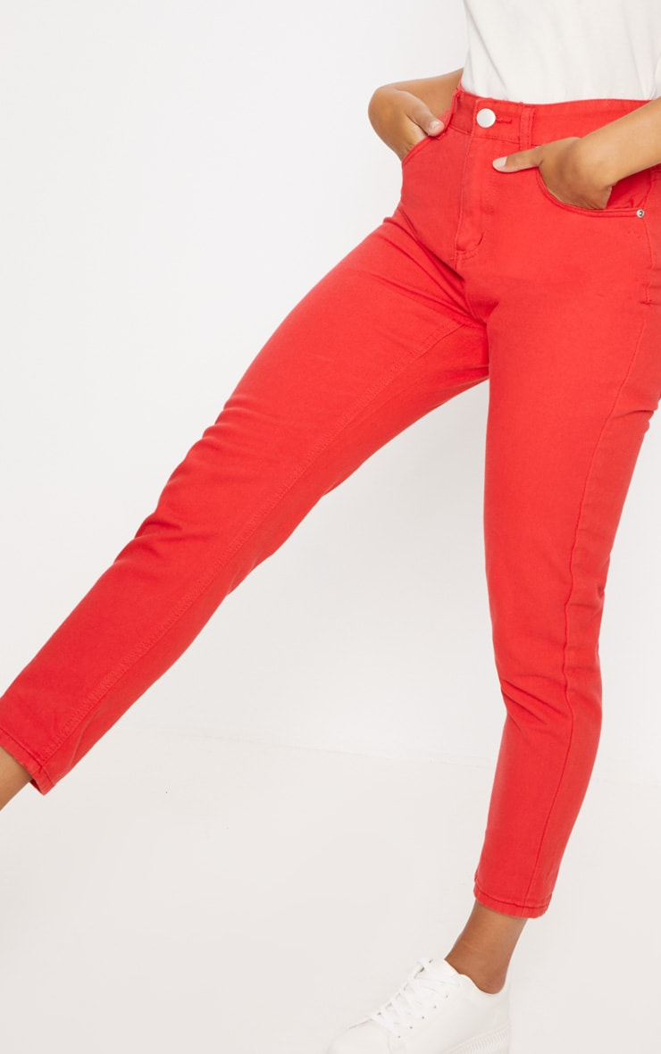 Red High Waisted Mom Jeans 5