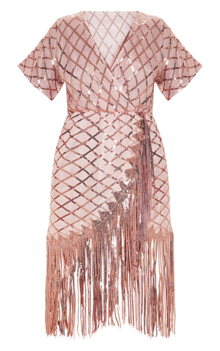 Dusty Pink Short Sleeve Sequin Tassel Shift Dress 3
