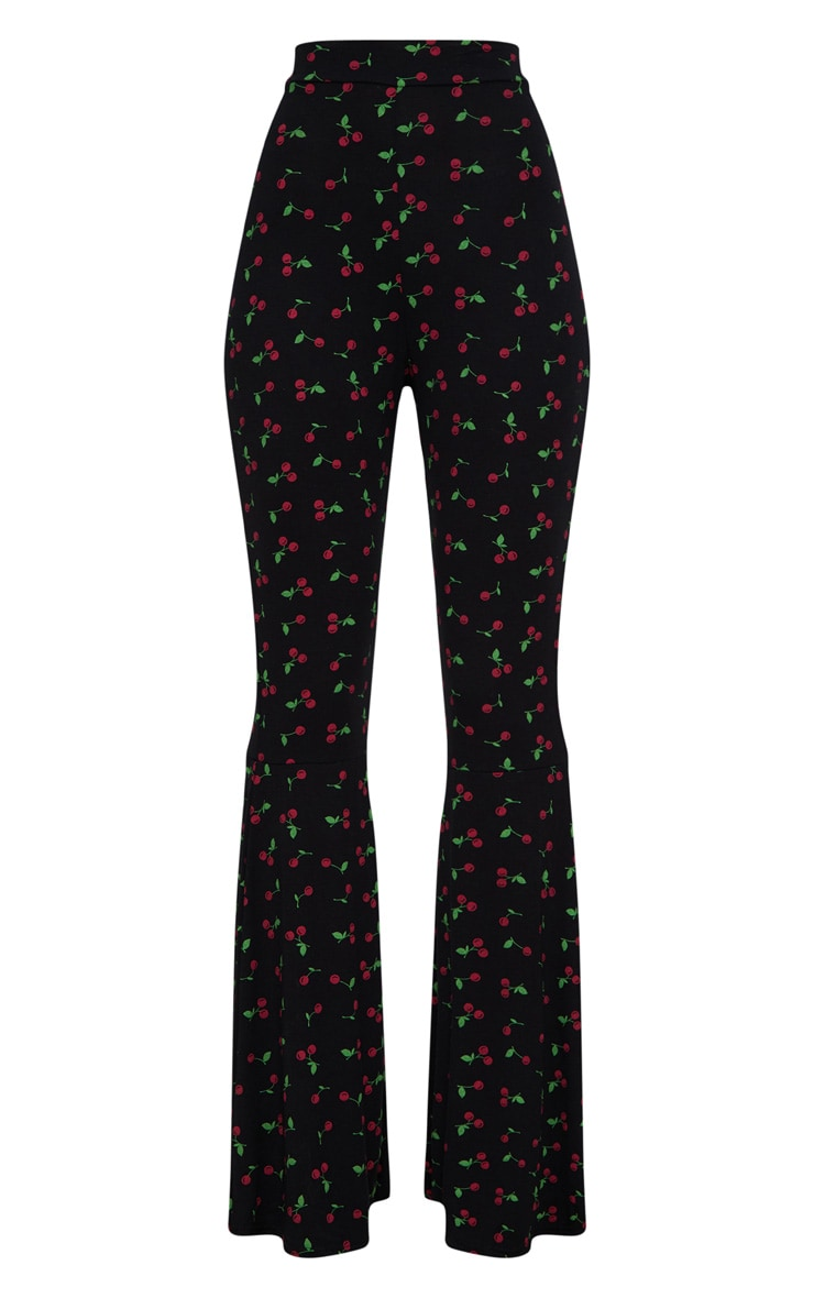 Cherry Print Flared Leg Pants 3
