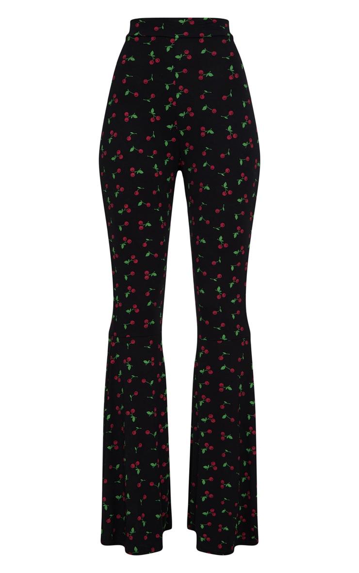 Cherry Print Flared Leg Trousers 3