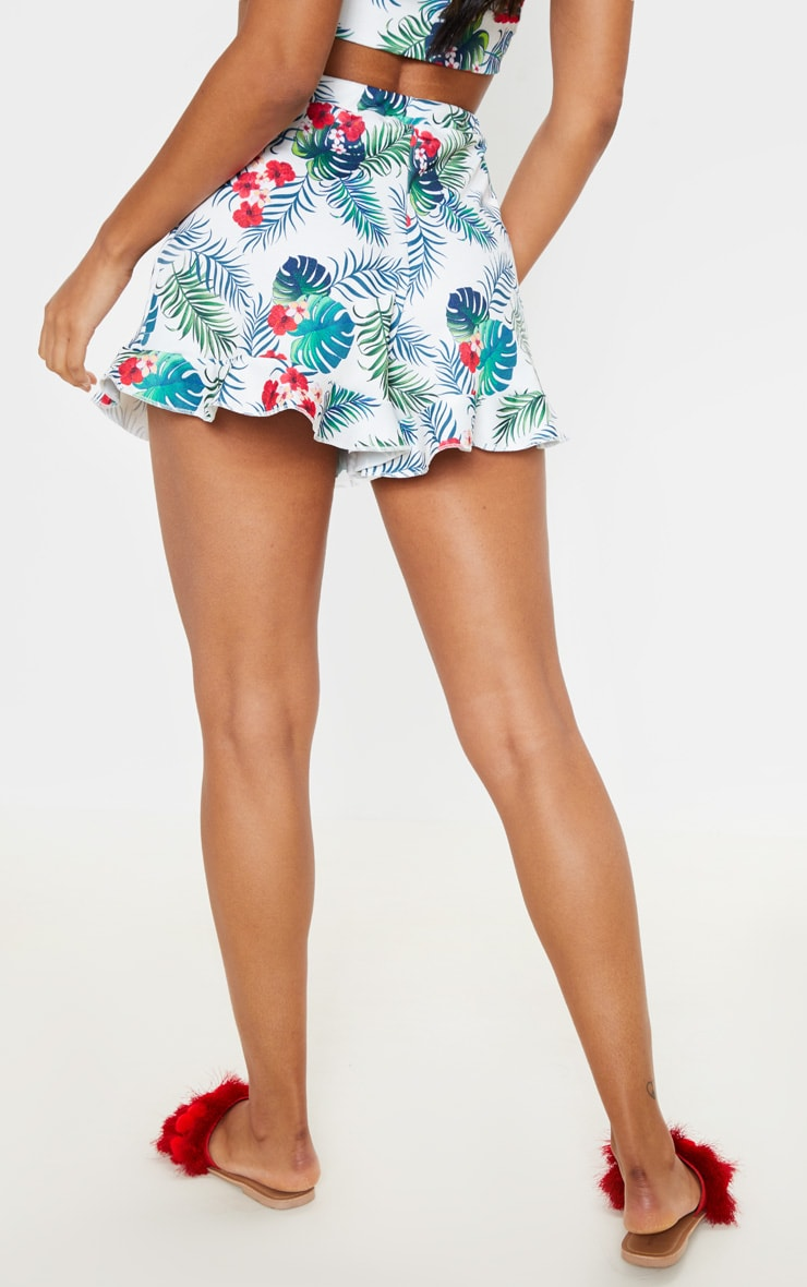 White Tropical Print High Waisted Frill Hem Short 4