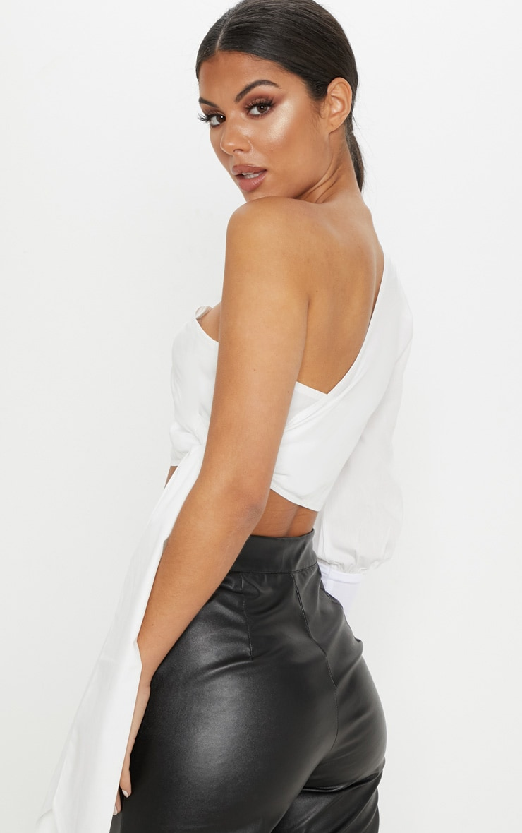 White One Shoulder Tie Crop Shirt 2