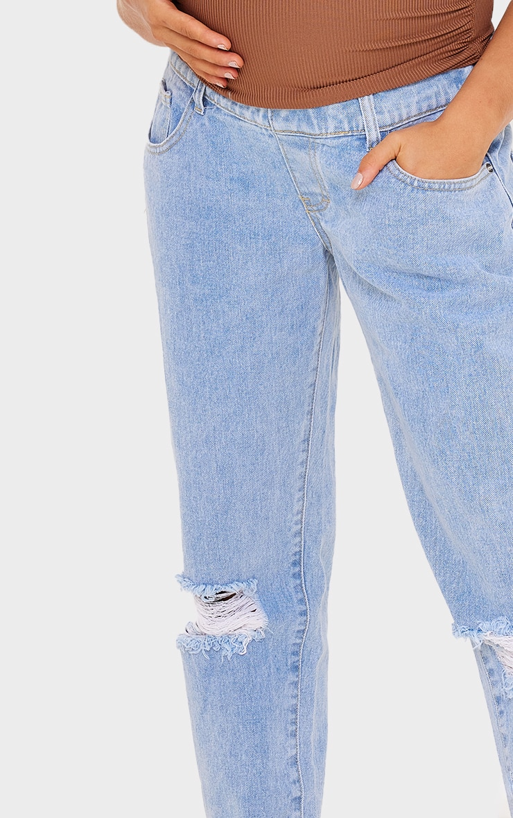 Maternity Light Blue Ripped Knee Mom Jeans 4
