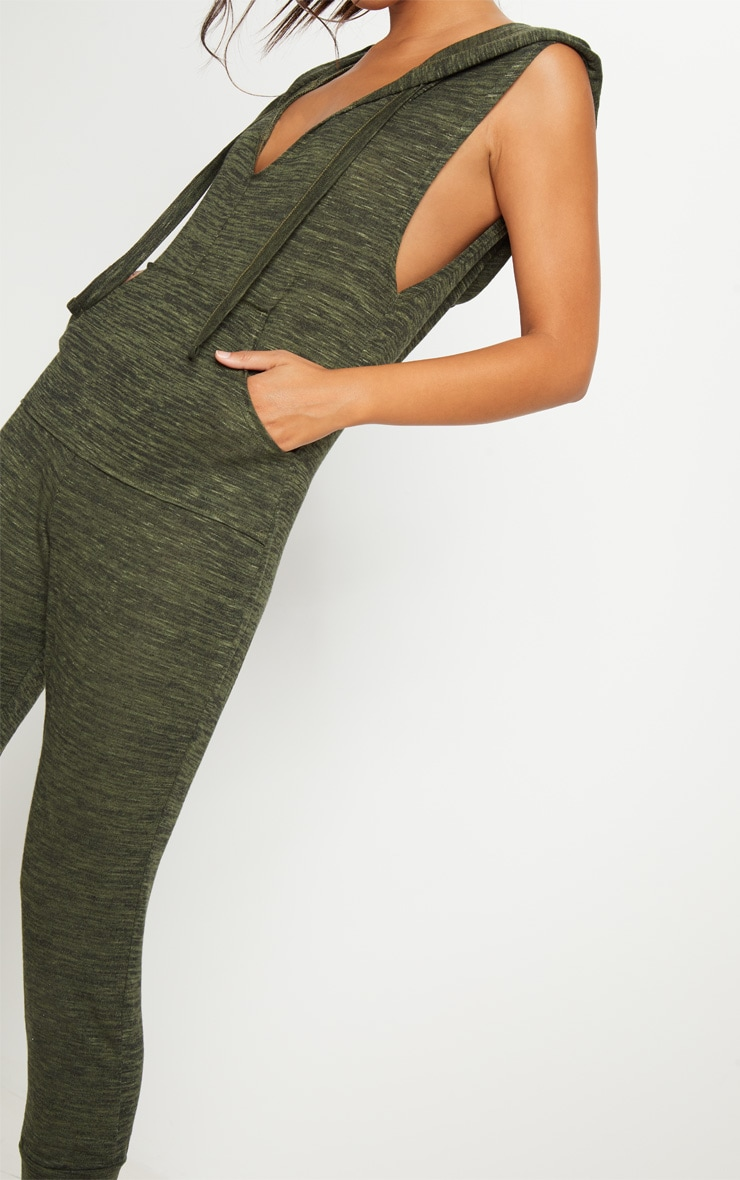 Khaki Knitted Hooded Jumpsuit 5