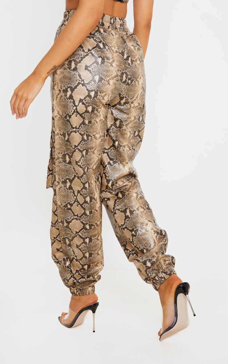 Taupe Snake Print Pocket Detail Cargo Pants 4