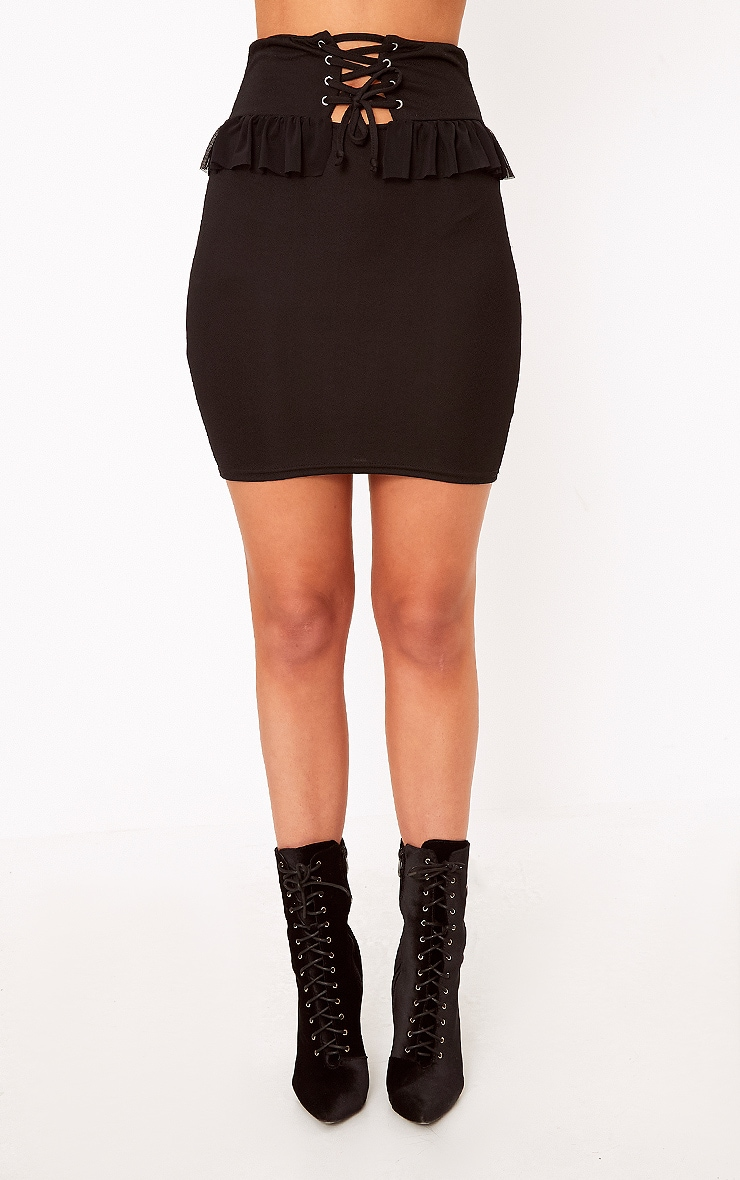 Janessa Black Frill Waist Corset Mini Skirt 2
