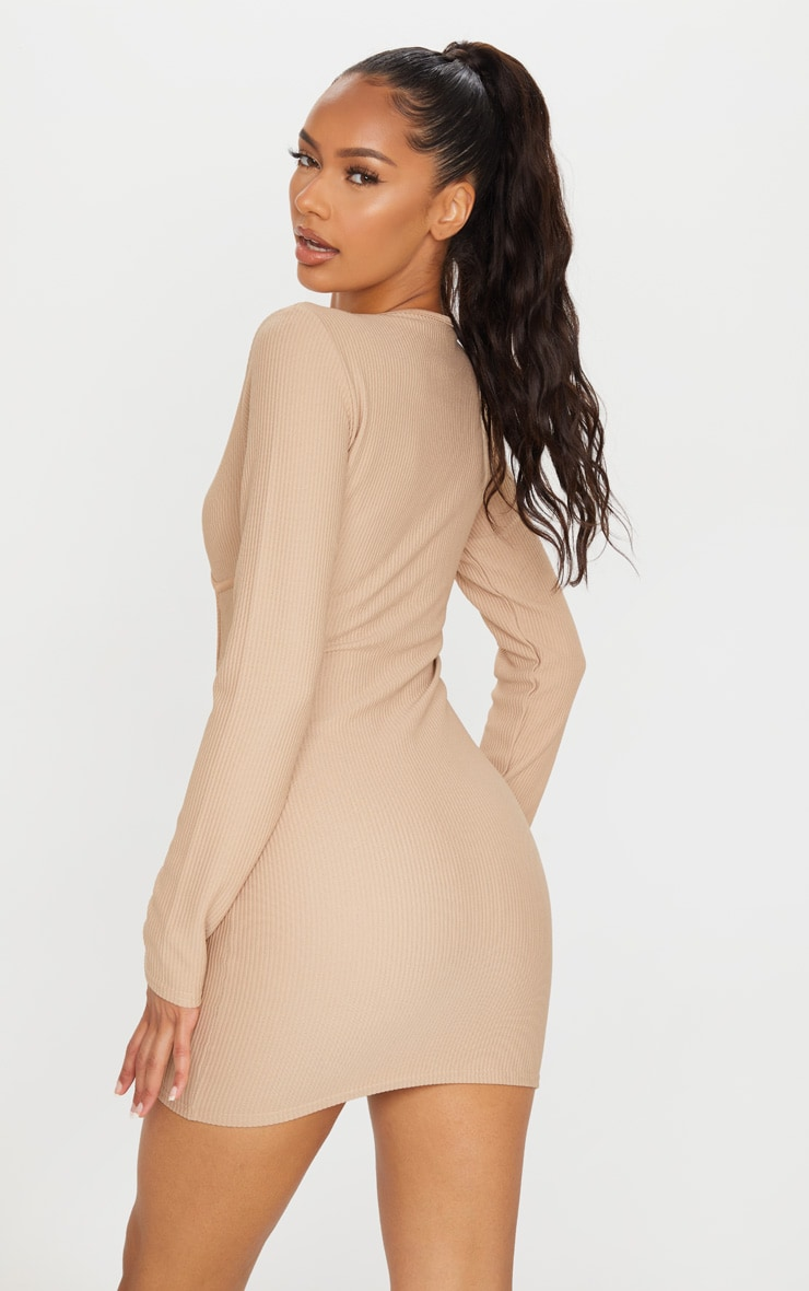 Stone Rib Binding Detail Long Sleeve Bodycon Dress 2