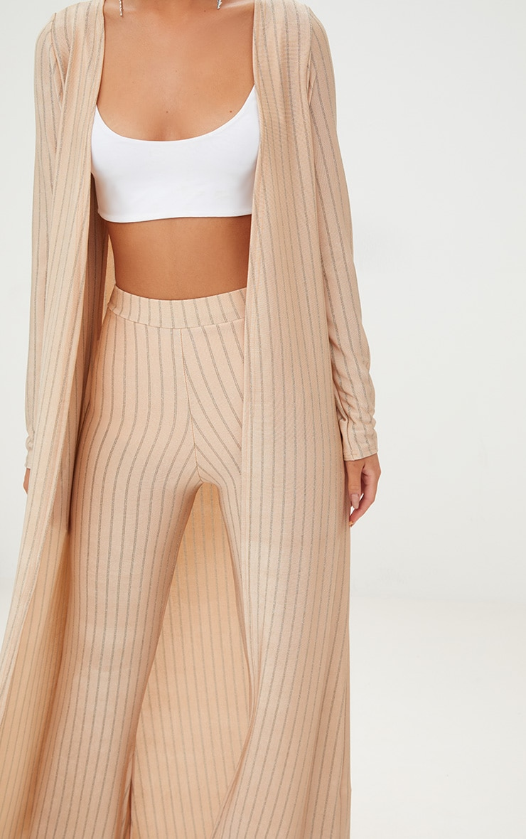 Nude Glitter Stripe Duster Coat  4