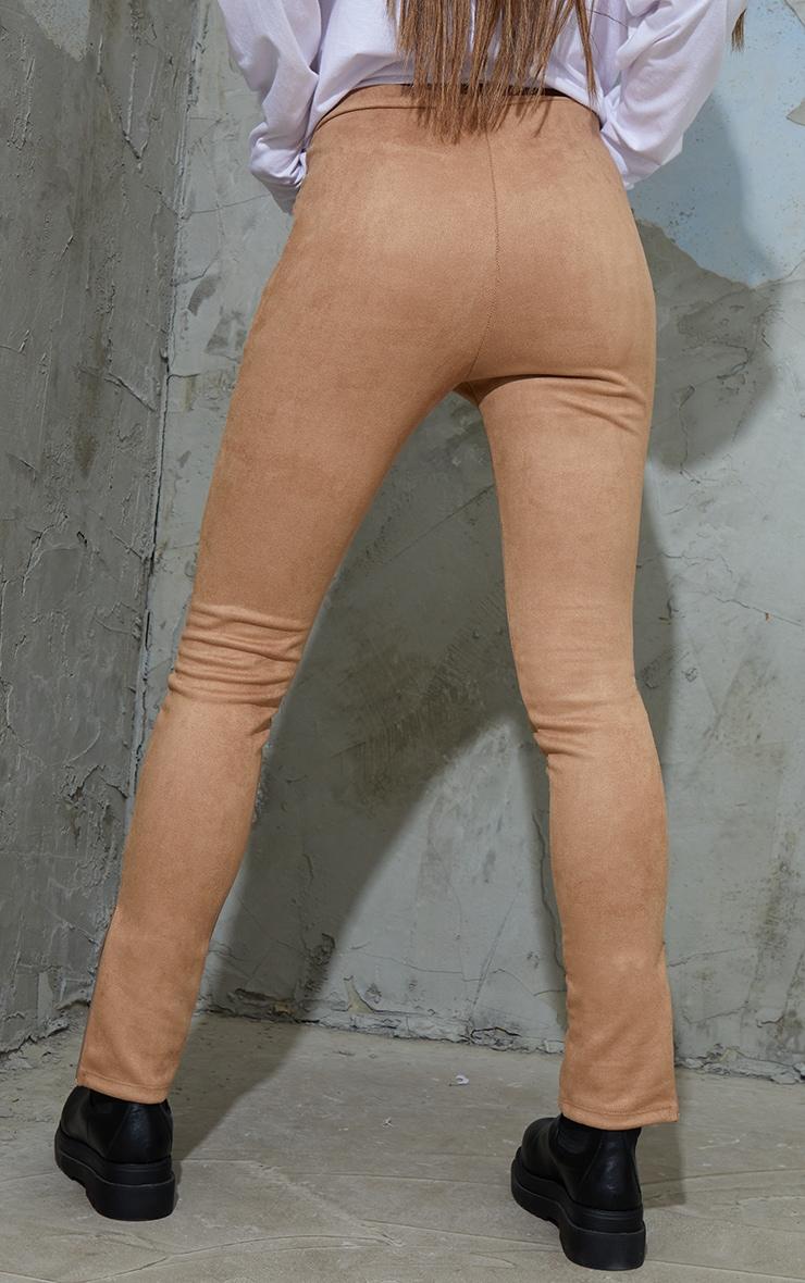 Tan Faux Suede Zip Split Hem Leggings 3