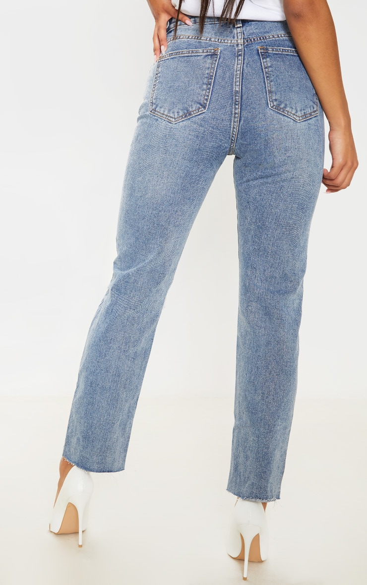 Mid Wash Straight Leg Jeans 4