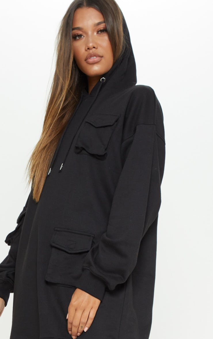 Black Pocket Front Hoodie Dress 5