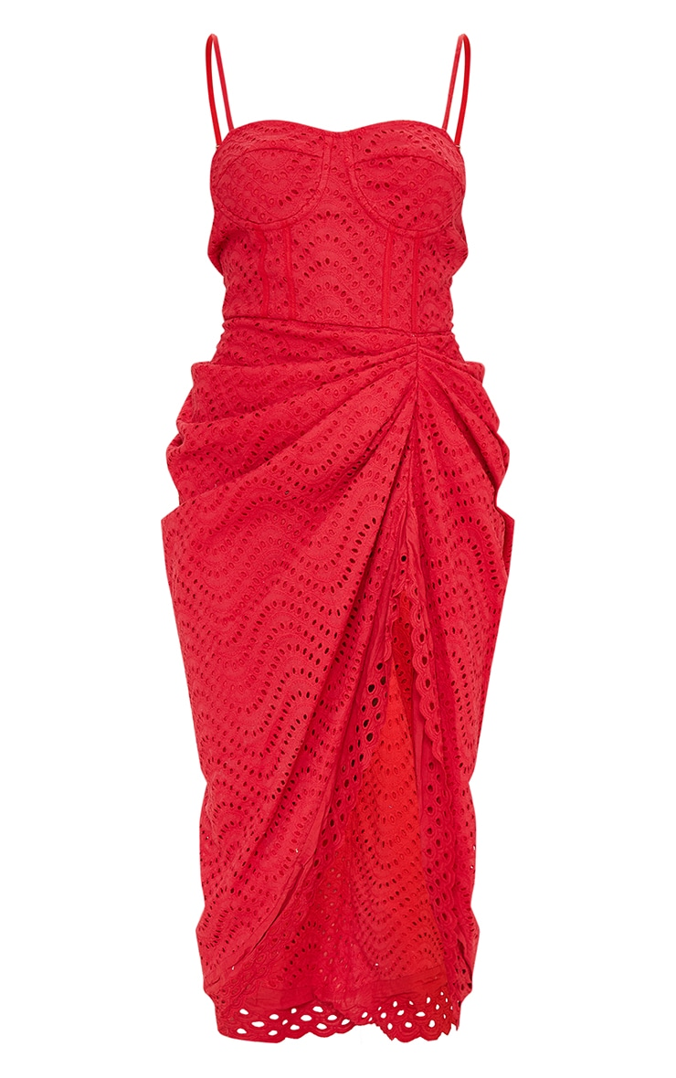 Red Broderie Anglaise Strappy Corset Drape Midi Dress 5