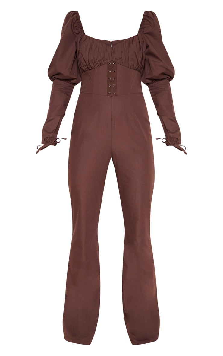 Chocolate Puff Sleeve Lace Up Waist Jumpsuit 3