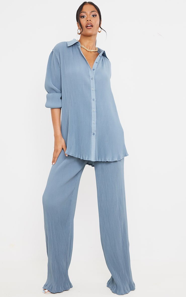 Tall  Blue Plisse Oversized Cuff Detail Shirt 3