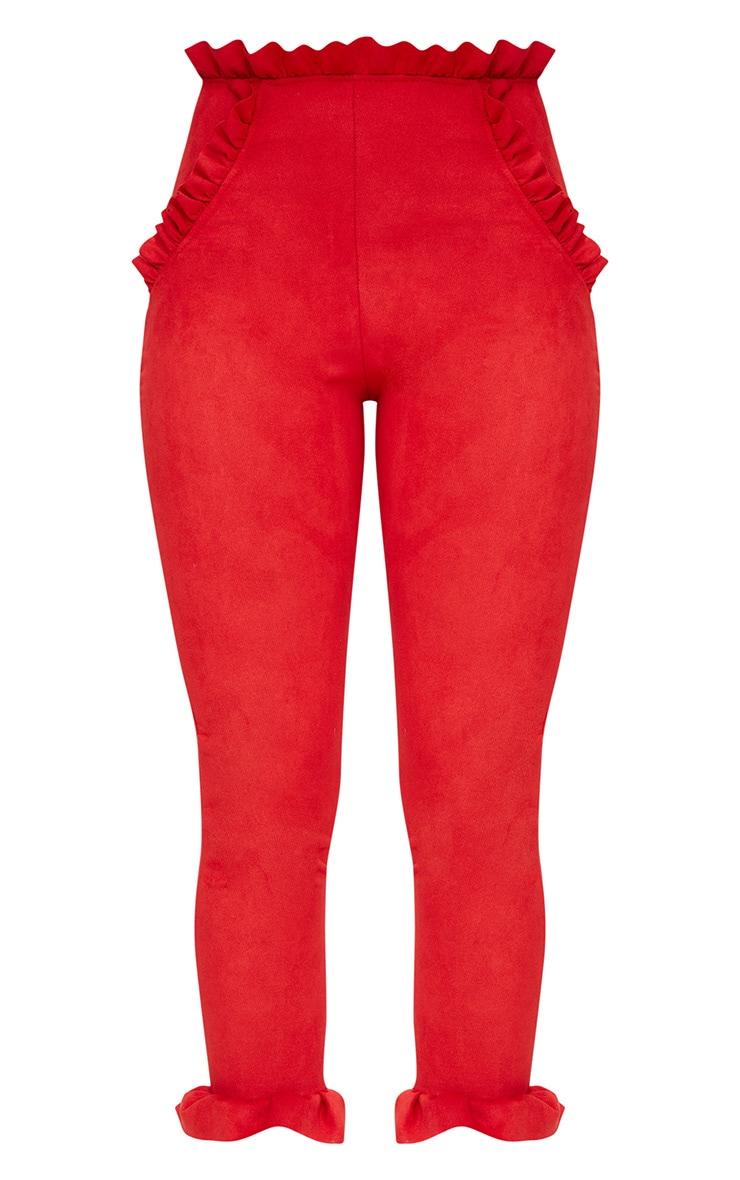 Red Faux Suede Frill Trim Trousers 3
