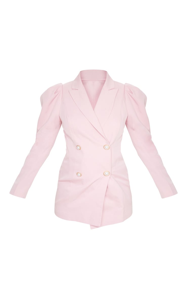 Pink Puff Sleeve Pearl Button Fitted Blazer 5