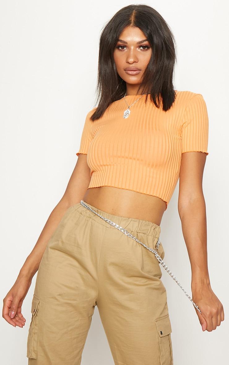 Tangerine Rib Frill Detail Crop T Shirt 1
