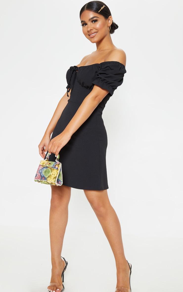 Petite Black Bardot Puff Sleeve Tie Front Mini Dress 3
