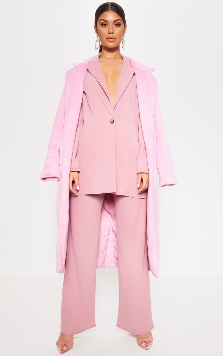 Pink Wide Leg Suit Pants 2