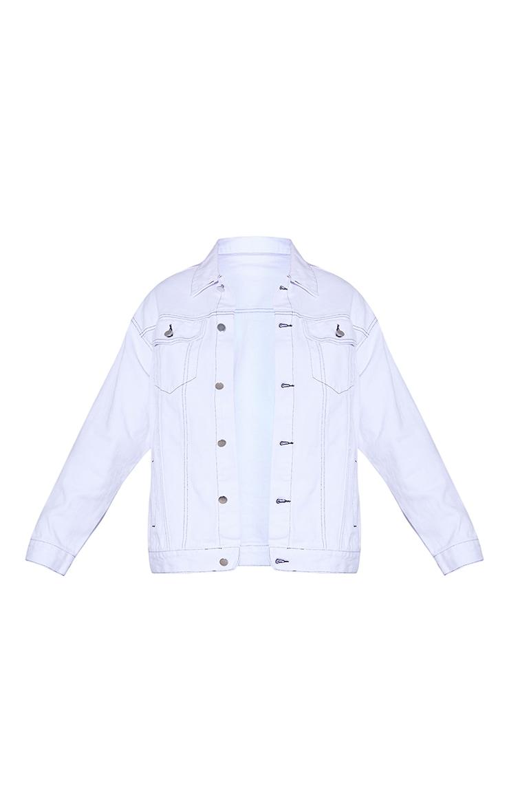 PRETTYLITTLETHING - Veste en jean oversize boyfriend blanche à coutures noires 5