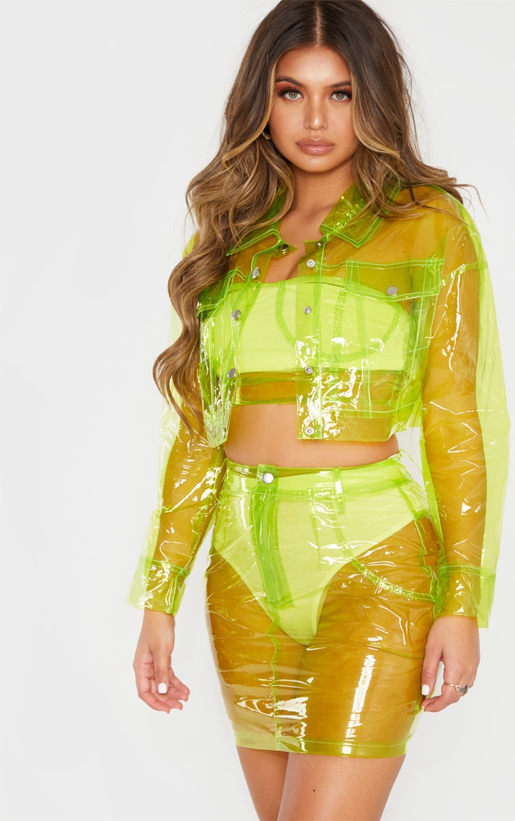 Lime Transparent Mini Skirt 1