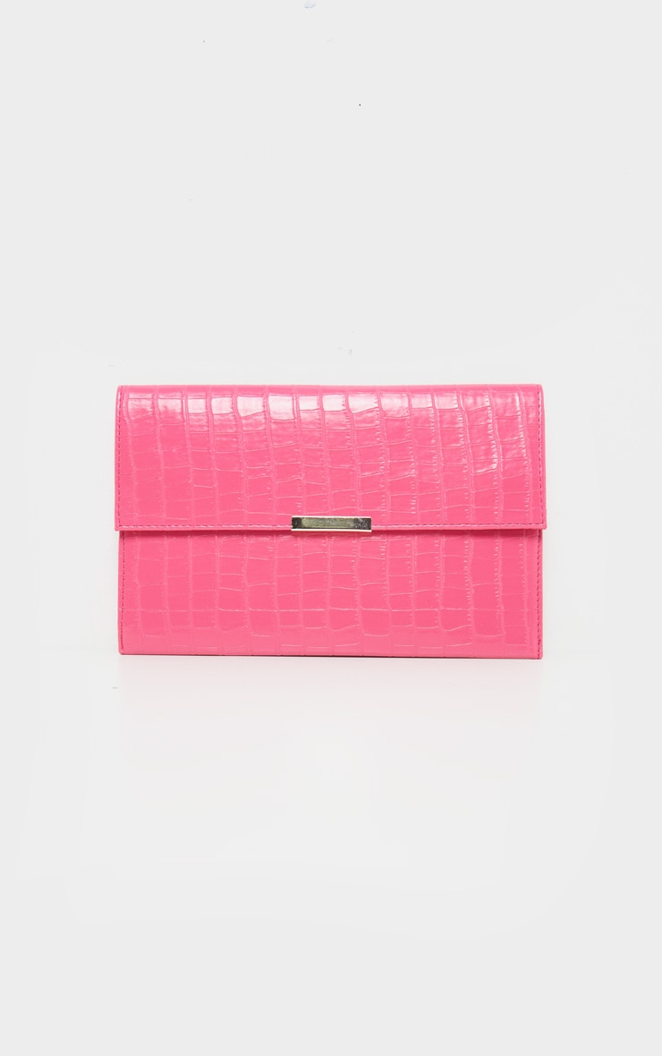 Hot Pink Croc Basic Clutch 2