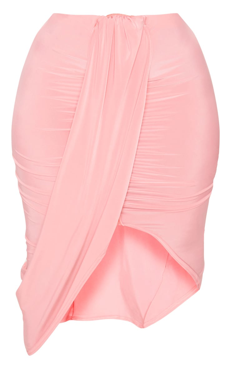 Plus Coral Slinky Ruched Wrap Front Midi Skirt 3
