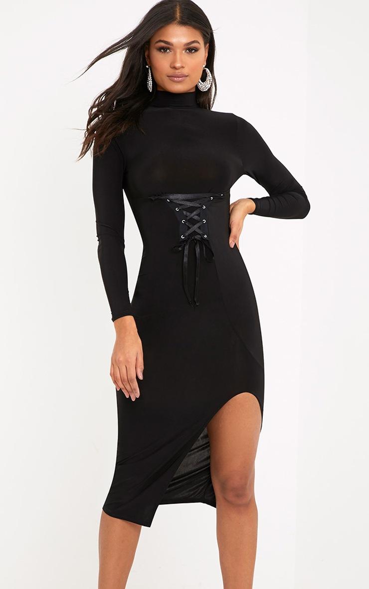 Alizeh Black Slinky Side Split Corset Detail Midi Dress